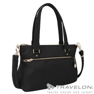 【Travelon美國防盜包】TL-43197-17 黑(小資女都會商務中型側肩包托特包 RFID/防盜鎖/防割鋼網)