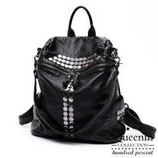 【D.F.Queenin】韓版人氣六角鉚釘仿皮款後背包