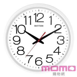 【RHYTHM 麗聲】簡約設計亮彩經典款大字體超靜音掛鐘(極簡白)
