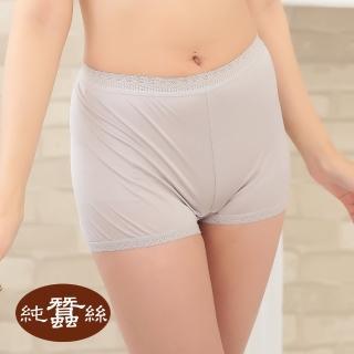 【岱妮蠶絲】純蠶絲42針110G蕾絲高腰平口內褲-銀灰(AWA5BN49)
