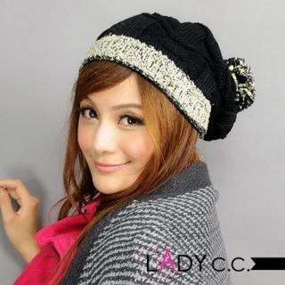 【Lady c.c.】滾邊跳色百搭基本款毛帽(黑)