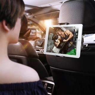 【BASEUS】倍思汽車後座頭枕卡扣式車用旋轉手機支架/平板支架(黑色)