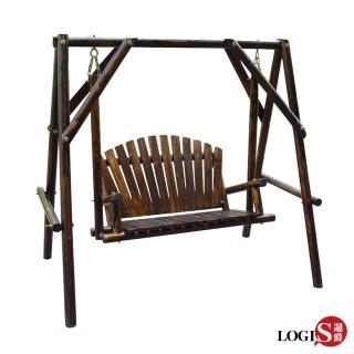 【LOGIS】邏爵LOGIS樸木雙人戶外休閒鞦韆(搖椅 秋千 休憩椅)