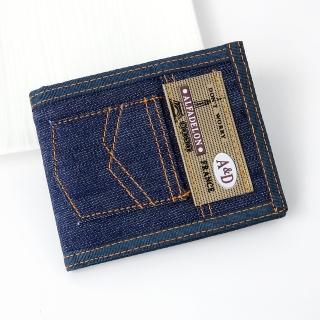【皮夾】立體口袋牛仔皮夾短夾(玖飾時尚)