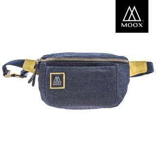 【MOOX 穆克斯】O12BY 厚磅單寧斜背包/腰包(自信藍黃)