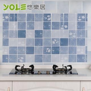 【YOLE 悠樂居】雅緻夏荷廚房自黏防油壁貼(2入)