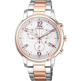 【CITIZEN 星辰】XC 光動能計時女錶-雙色版/37mm(FB1435-57A)