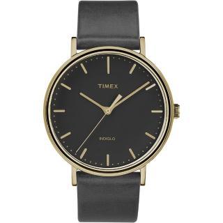 【TIMEX】天美時 週末Fairfield系列 時尚手錶(黑x金框 TXTW2R26000)