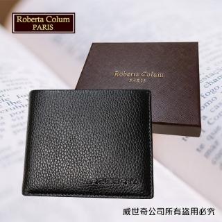 【Roberta Colum】諾貝達 男用皮夾 短夾 專櫃皮夾 進口軟牛皮短夾(24004-1黑色)