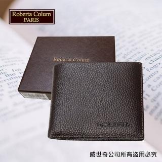 【Roberta Colum】諾貝達 男用皮夾 短夾 專櫃皮夾 進口軟牛皮短夾(24006-2咖啡)