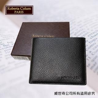 【Roberta Colum】諾貝達 男用皮夾 短夾 專櫃皮夾 進口軟牛皮短夾(24006-1黑色)
