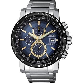 【CITIZEN 星辰】光動能萬年曆電波錶-藍x金時標/43mm(AT8124-83M)