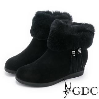 【GDC】流蘇毛毛真皮短靴-黑色(728538)