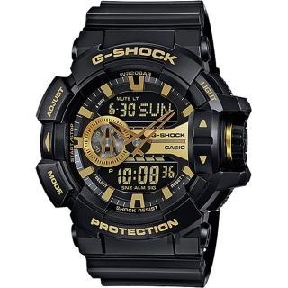 【CASIO 卡西歐】G-SHOCK 金屬系雙顯手錶-經典黑金(GA-400GB-1A9)