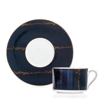 【Royal Duke】骨瓷咖啡花茶對杯-高登250ml(浮雕金邊點綴)