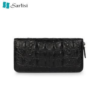 【Sarlisi】【歷史最低價 買到賺到】尊品鱷魚皮長夾皮夾背骨拉鏈手拿包黑色(原價6680現價4980)