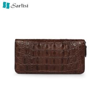 【Sarlisi】【歷史最低價 買到賺到】尊品鱷魚皮長夾皮夾背骨拉鏈手拿包咖啡色(原價6680現價4980)
