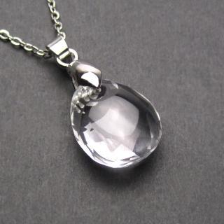 【LuckyPlus】天然特A級切面白水晶水滴短版項鍊(可挑選鍊長)