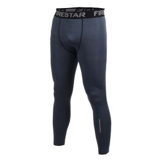 【FIRESTAR】男機能緊身長褲-緊身褲 慢跑 路跑 健身 深麻灰黑(N7903-18)