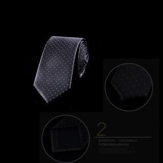 【拉福】領帶窄版領帶6cm點點領帶拉鏈領帶(黑底白點)