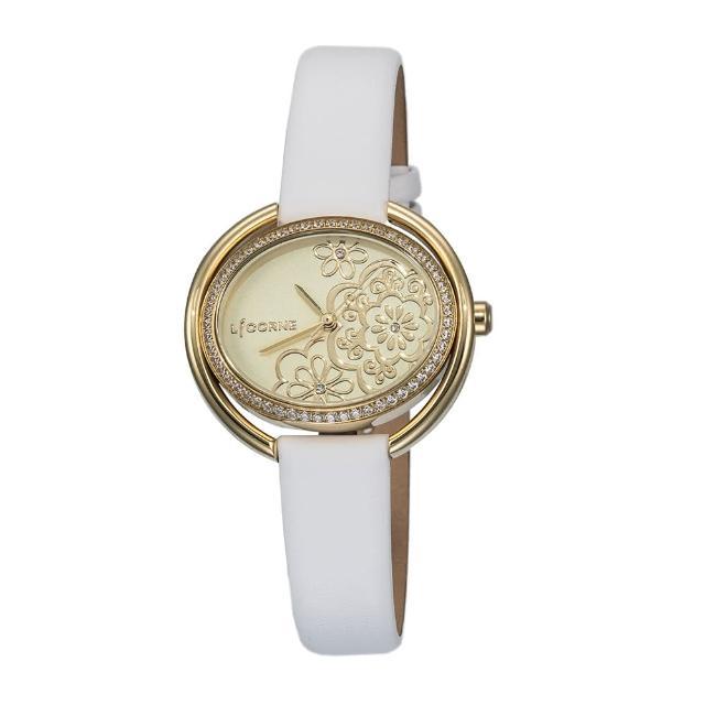 【LICORNE】力抗 花語鑲鑽優雅手錶(金/白 LT130LKKW)