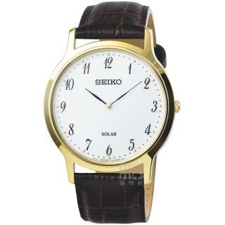 【SEIKO 精工】精工太陽能時尚皮帶男錶-金框銀面(SUP860P1)