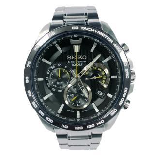 【SEIKO 精工】三眼計時男錶 不鏽鋼錶帶 黑 防水100米 日期顯示(SSB303P1)