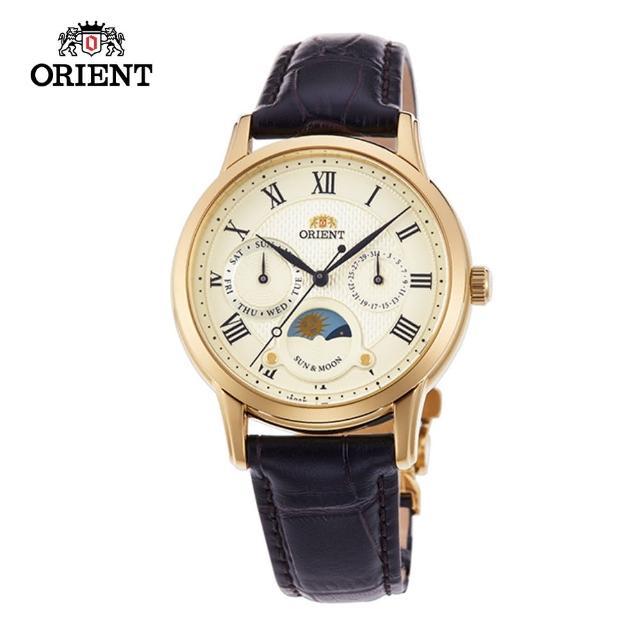 【ORIENT 東方錶】ORIENT 東方錶 SUN&MOON系列 日月相錶 皮帶款 白面-34.8mm(RA-KA0003S)
