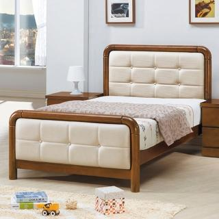 【AS】歐尼斯特3.5尺米白皮實木床台-113.6x199.9x103cm