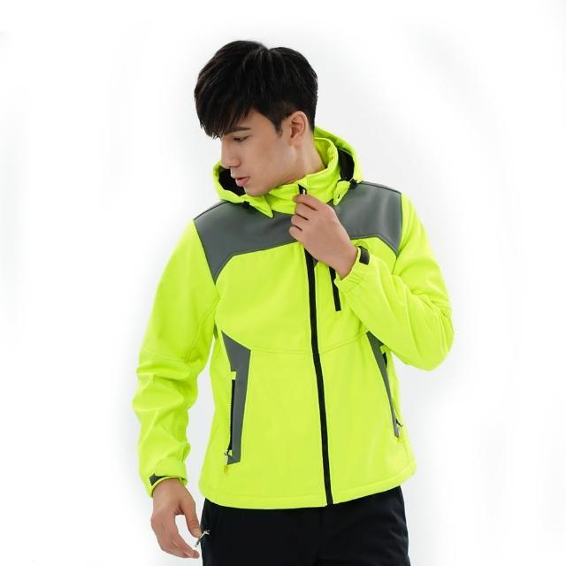 【遊遍天下】男款GlobeTex防水透濕防風刷毛軟殼外套23003螢光黃(M-5L)/