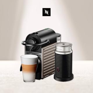 【Nespresso】Pixie 鈦金屬 黑色奶泡機組合(贈$350咖啡折扣金-可兌換約20顆咖啡膠囊)