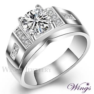【WINGS】尊爵 進口方晶鋯石精鍍白K金戒指(男戒 鑽戒)