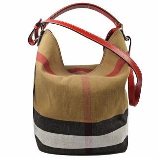 【BURBERRY 巴寶莉】經典格紋棉麻肩斜兩用子母水桶包(紅邊)