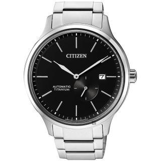 【CITIZEN 星辰】爵士鈦金屬機械錶-黑x銀/42mm(NJ0090-81E)