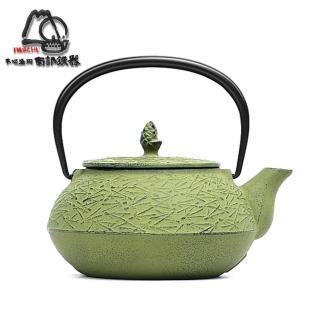 【日本岩鑄】南部鐵器 急須 松葉5型 淺綠 鑄鐵壺 茶壺-0.65L(12425)