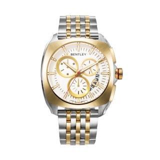 【Bentley 賓利】Solstice系列 黑暗紳士計時手錶(白面/金銀鋼帶 BL1681-70777)