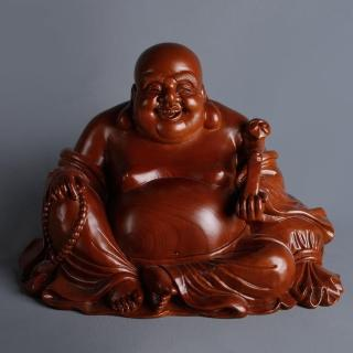 【MU LIFE 荒木雕塑藝品】8寸 如意布袋佛 A款(紅豆杉)