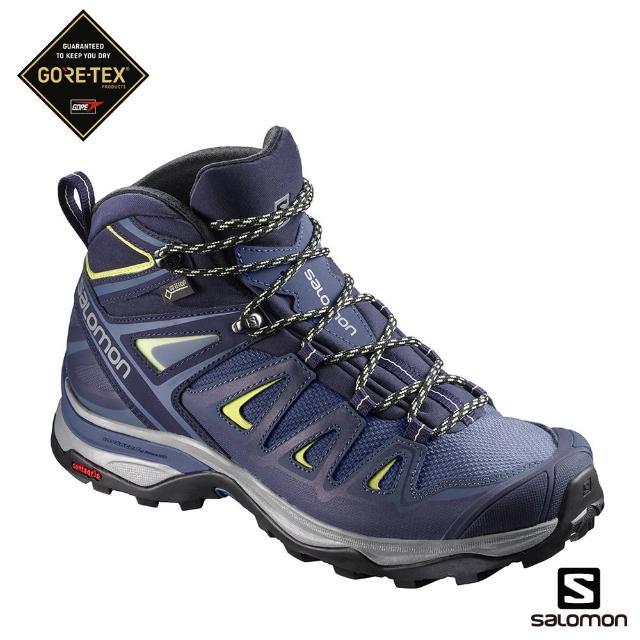【salomon】登山鞋 中筒 GORETEX 防水 女 X ULTRA 3 WIDE 寬楦(藍/綠)