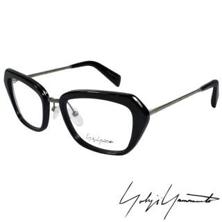 【Y-3山本耀司】Yohji Yamamoto時尚斜方框金屬混搭造型光學眼鏡(黑 YY1005-019)