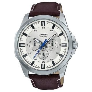~CASIO 卡西歐~三眼男錶 皮革錶帶 黑 藍 銀白 防水50米 滑動式秒針 MTP~S