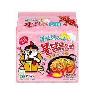 【三養】火辣雞肉風味鐵板炒麵-奶油白醬風味(130公克*5包入-粉紅火辣雞)