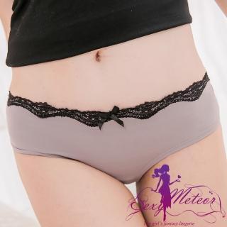 【Sexy Meteor】PA2463全尺碼-拼接鑽飾波浪蕾絲低腰三角內褲(時尚灰)
