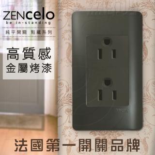 【SCHNEIDER】法國Schneider ZENcelo系列 雙插座附接地極_霧青金屬色