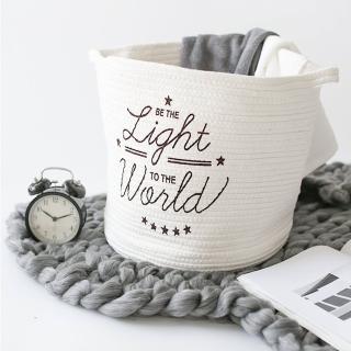 【收納職人】簡約北歐手感棉線編織浪漫英文裝飾置物籃/收納籃(英文暖白)