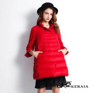 【KERAIA 克萊亞】中式大器繡花縫珠輕羽絨外套