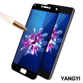 【YANG YI 揚邑】ASUS ZenFone 4 Max ZC554KL 5.5吋 滿版鋼化玻璃膜弧邊防爆保護貼(黑色)