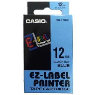 【CASIO 卡西歐】標籤機專用色帶-12mm藍底黑字(XR-12BU1)