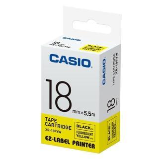 【CASIO 卡西歐】標籤機專用特殊色帶-18mm螢光黃底黑字(XR-18FYW1)