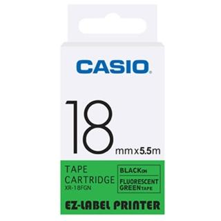【CASIO 卡西歐】標籤機專用特殊色帶-18mm螢光綠底黑字(XR-18FGN1)