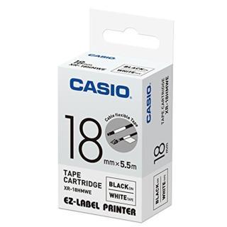 【CASIO 卡西歐】標籤機專用特殊色帶-18mm線材專用白底黑字(XR-18HMWE1)
